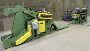 UNCOILER - cradle straightener end pivot table feeder 75ton press and shear ctl